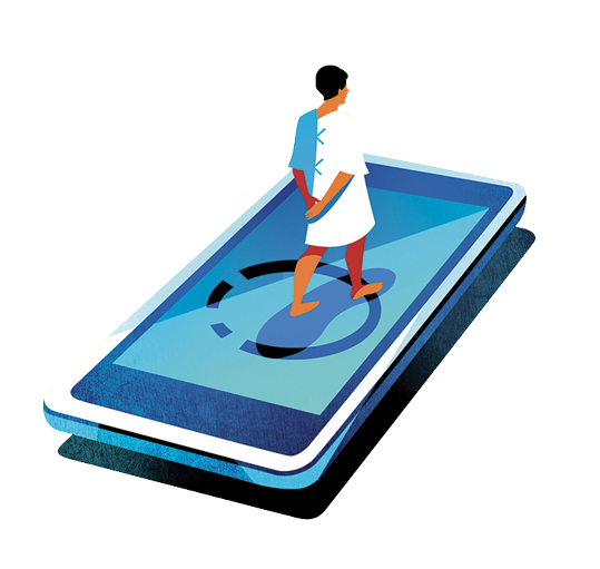 illustration of a doctor walking on a cell phone
