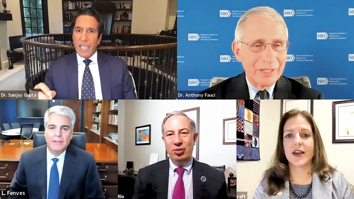 A screen capture of several speakers on a remote meeting, including Dr. Anthony Fauci, Emory Infectious disease expert Carlos Del Rio, and Emory President Gregory L. Fenves