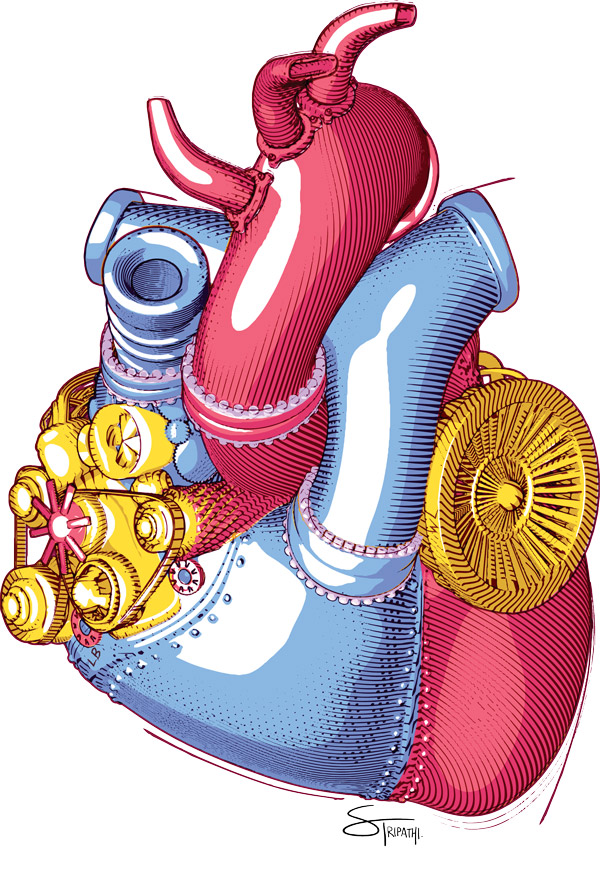 Illustration of a heart as an engine
