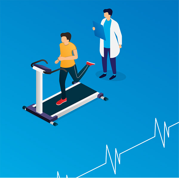 illustration of a patient on a treadmill with a doctor watching