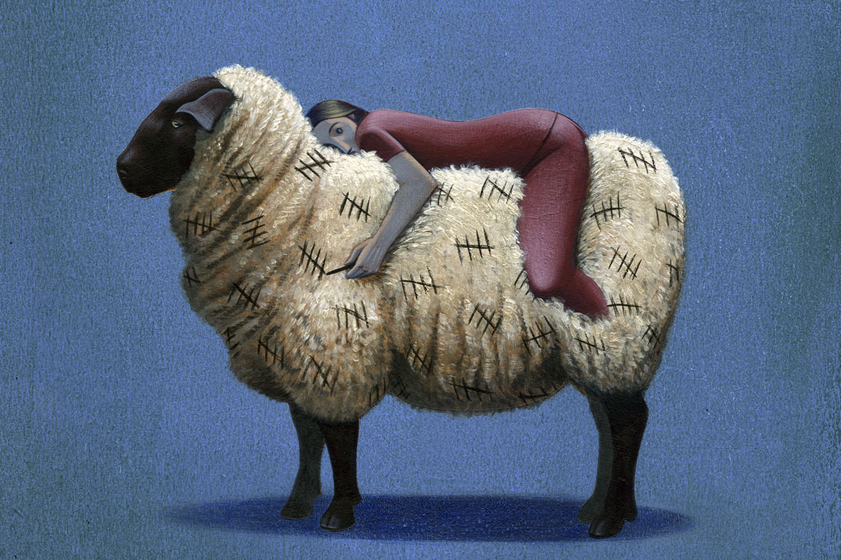 Illustration of a person sleeping atop a sheep.