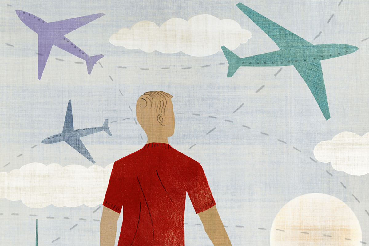 Illustration of a person looking up into the sky where an airplane flies overhead.