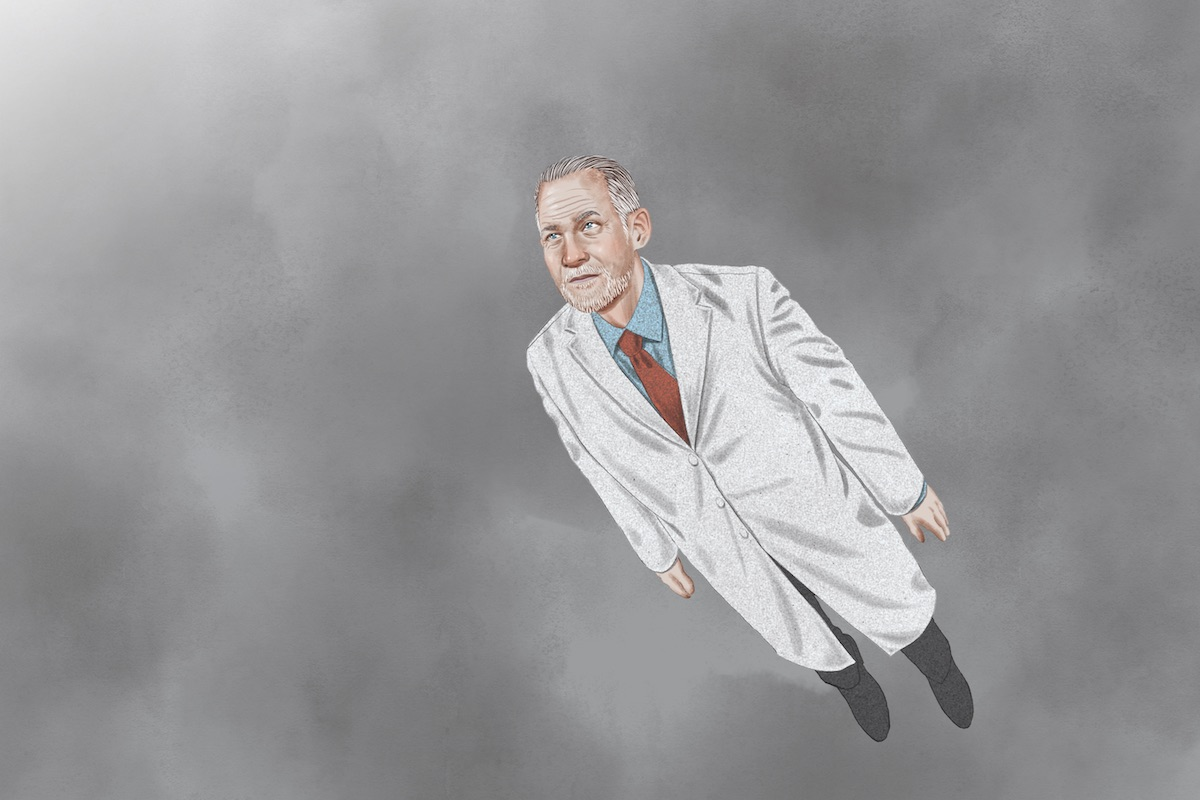 Illustration of a doctor in a white coat flying in the sky