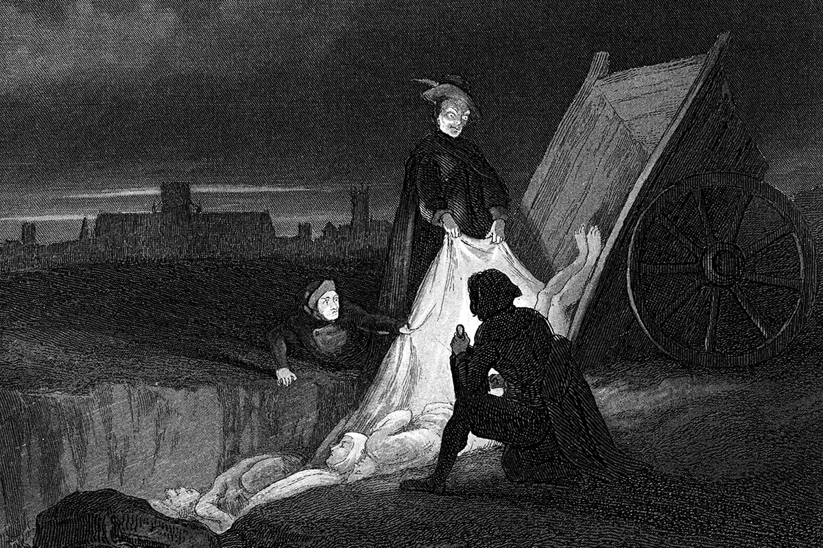 An illustration taken from an old publication showing a grim, nighttime scene of the plague, dumping bodies into a mass grave while someone prays in the foreground.