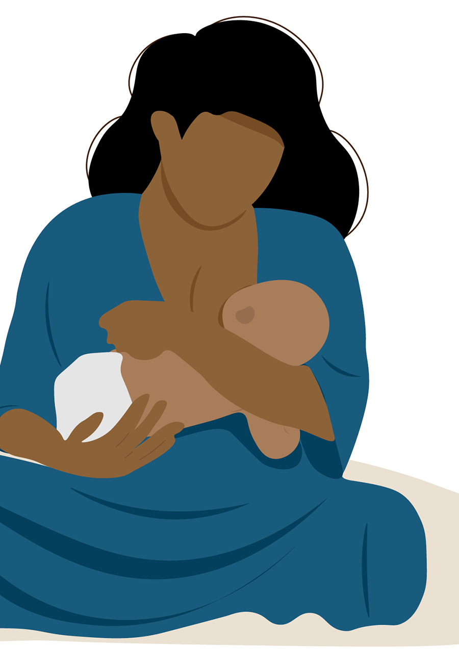 stylized illustration of a mother looking down and holding a baby.