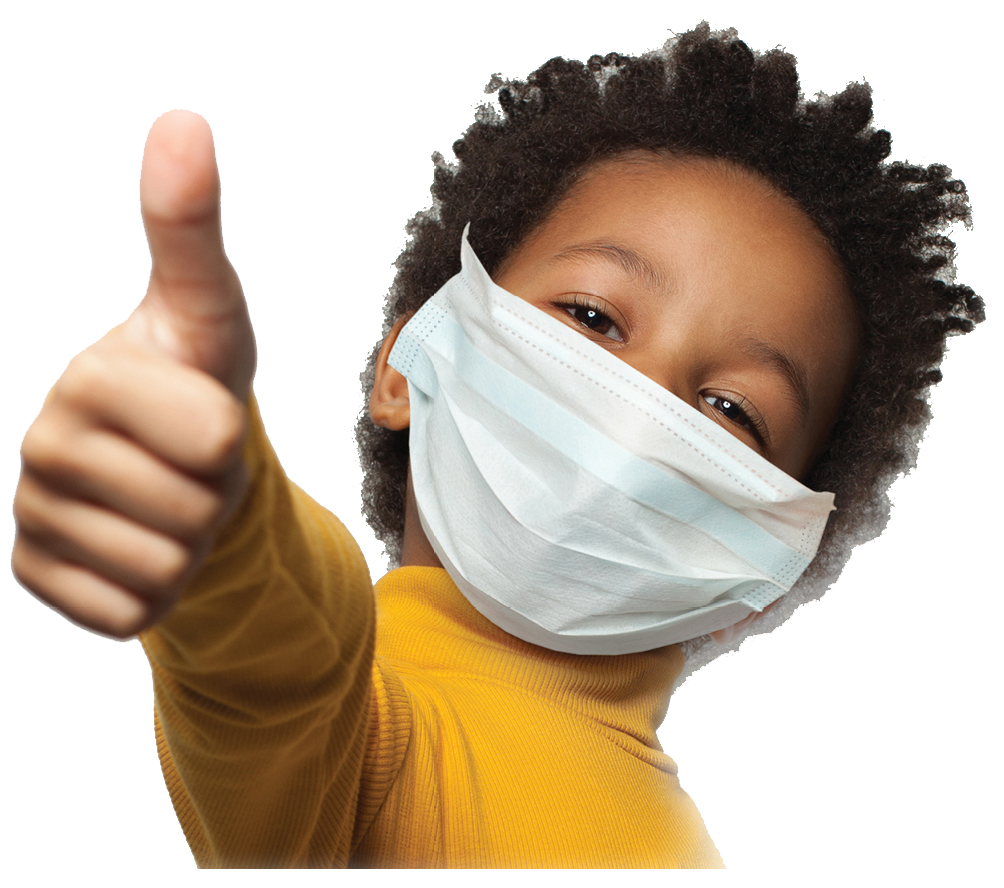 stock image of a boy in a mask giving the thumbs up sign
