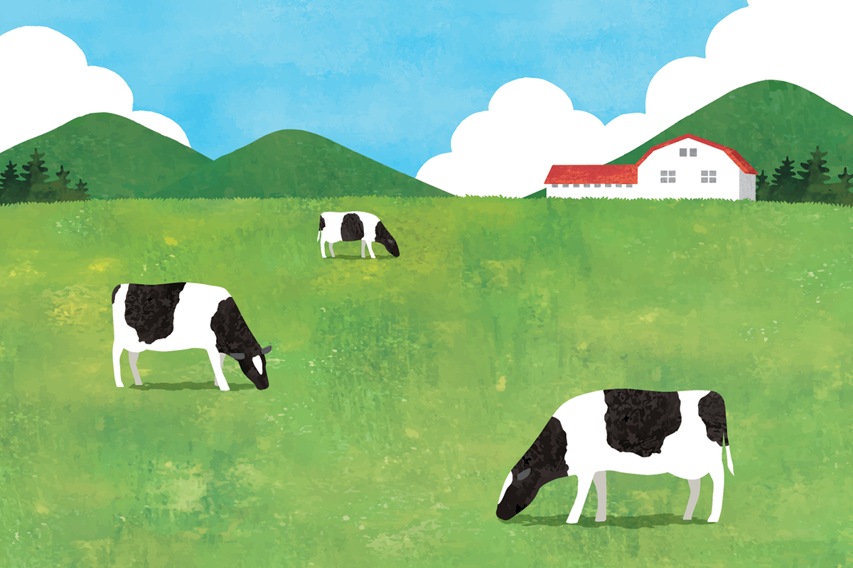 Illustration of cows grazing in green grass with a red-roofed barn peeking over the horizon of the field in the background.