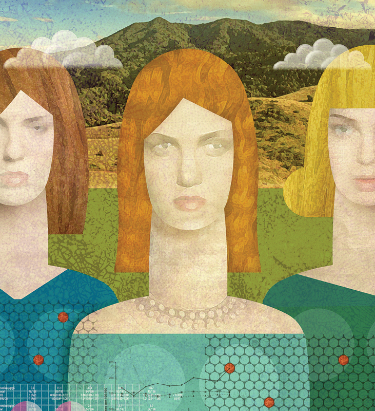 Illustration of women with abstractions of data layered across them.