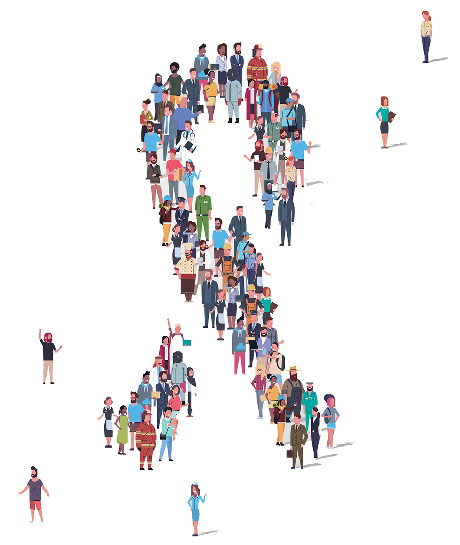 Illustration of a ribbon made of many people.